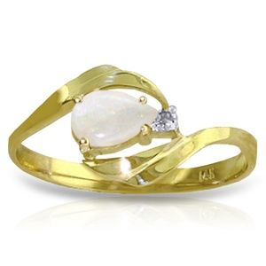14K. SOLD GOLD RING WITH NATURAL DIAMOND & OPAL